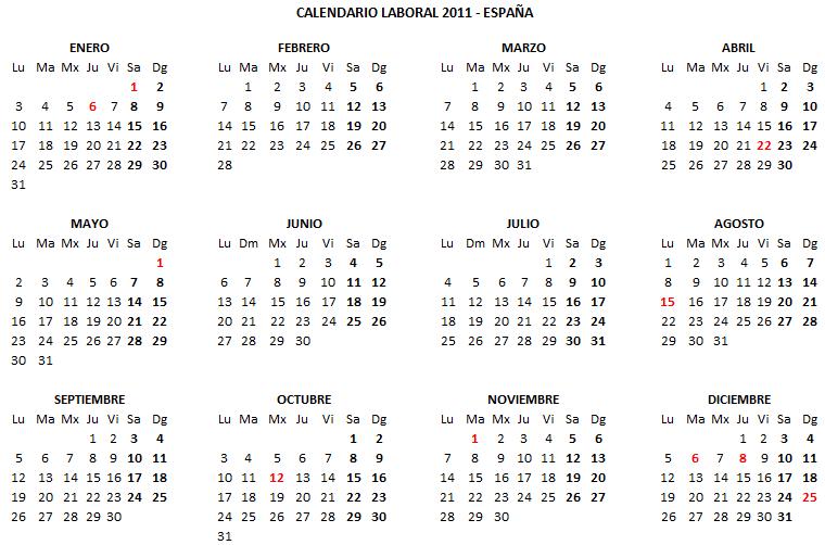 2011 Calendario.Descargar Calendario Laboral 2011 En Excel