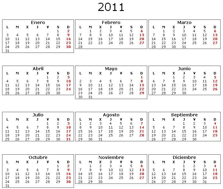 2011 Calendario.Descargar Calendario 2011 Para Imprimir
