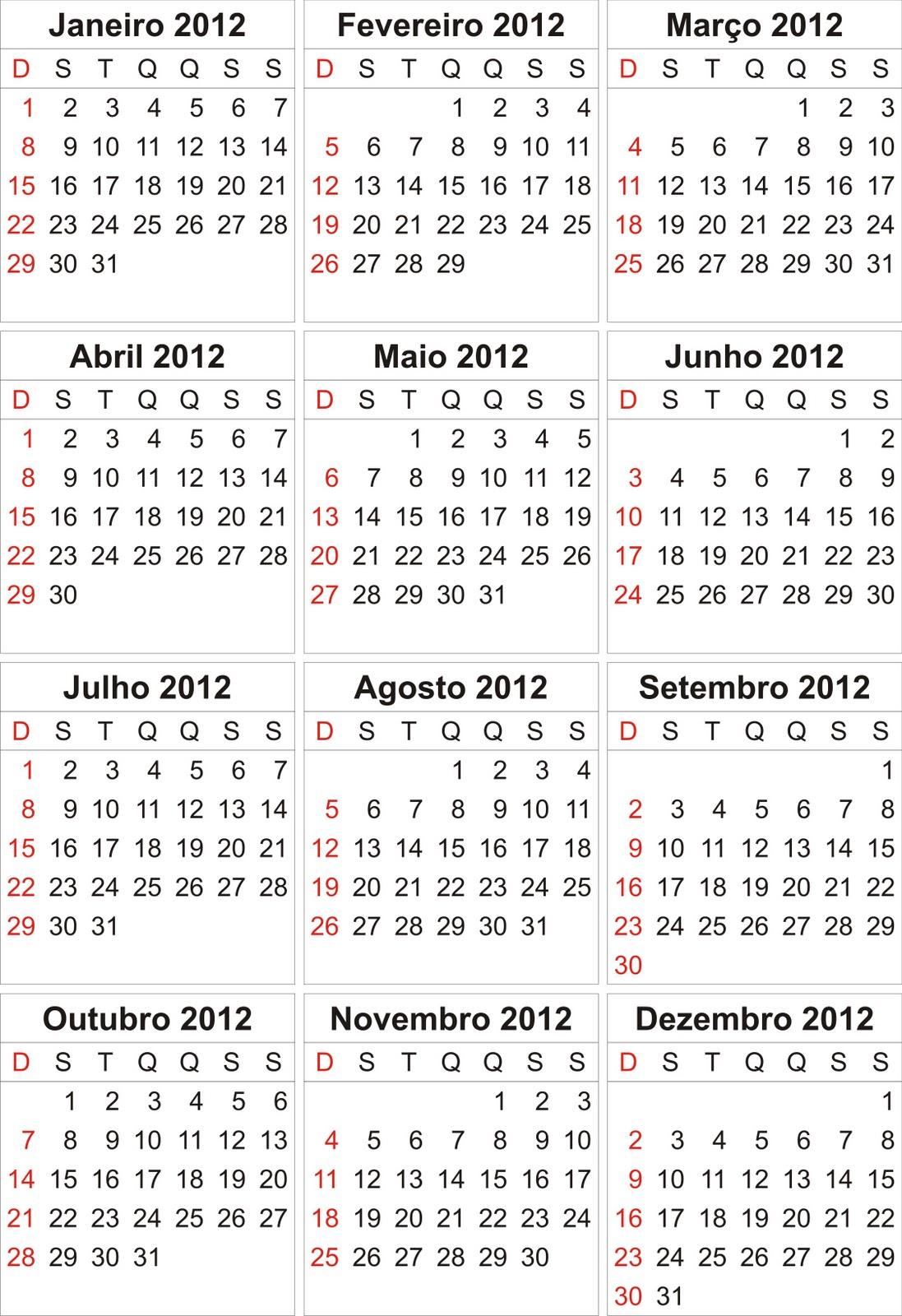 Descargar Calendario 2012 Para Imprimir