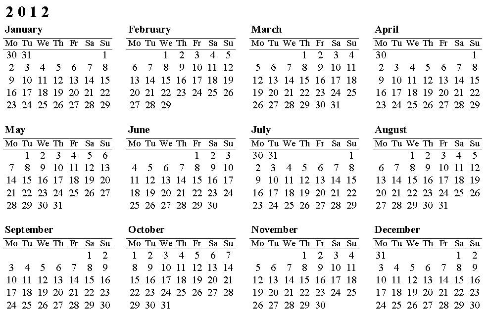 calendario word