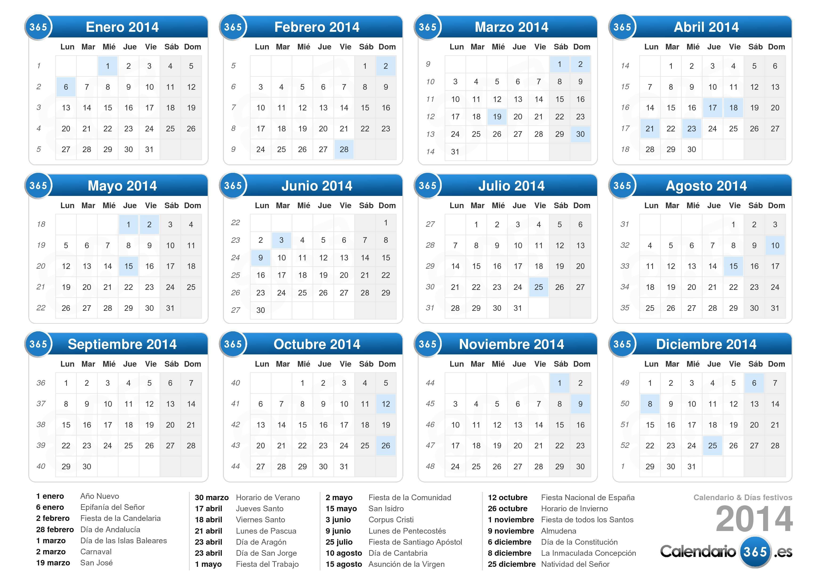 Calendario 2014 Imprimir Excel Calendario 2014 en Excel y