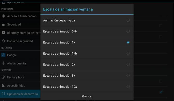 pantalla opciones de programador